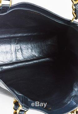 VINTAGE Chanel Black Leather Stitched'CC' Chunky Chain Strap Shopper Tote Bag