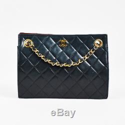 VINTAGE Chanel Black Red & Gold Tone Lambskin Leather Quilted Chain Strap Bag