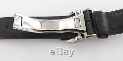 Vintage Iwc 19136 18mm Black Leather Strap With Original Deployment Clasp