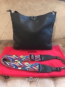Valentino Rockstud Black Grained Leather Crossbody With Guitar Strap