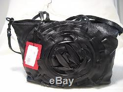 Valentino Rose Petale Flower Black Leather Tote with Shoulder Strap (NWT) $1995