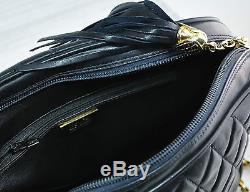 Vintage QUILTED LEATHER CHAIN BAG Chain Strap Gold Black Blue Free Shipping
