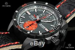 Vostok-Europe Almaz 47mm Black PVD Plated LE Leather Strap Watch 6S11-320C260