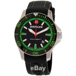 Wenger Sea Force Black Dial Leather Strap Men's Watch 01.0641.108
