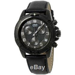 Wenger Swiss Army Military Black Dial Black Leather Strap Men's Watch 79265