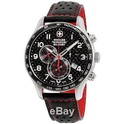 Wenger Swiss Army chronograhp chrono Black Dial Leather Strap Mens Watch 79310C