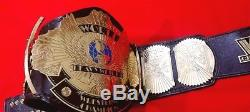 Wwf Classic Winged Eagle Belt In Brass Plates & Real Leather Strap