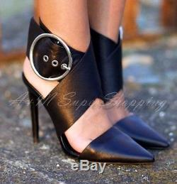Zara Shoes Black Cow Leather High Heel Ankle Strap Shoes Size Uk 4 Eu 37 Us 6.5